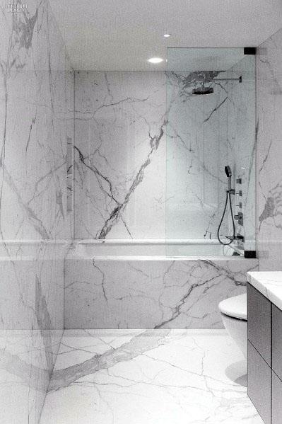 Large Format Marble Tile Bathroom Design Ideas