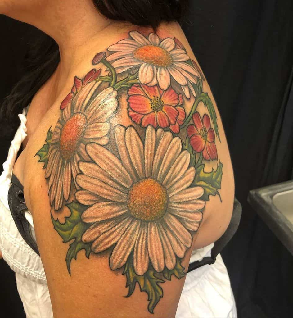 Shoulder wrap tattoo large full color daisy