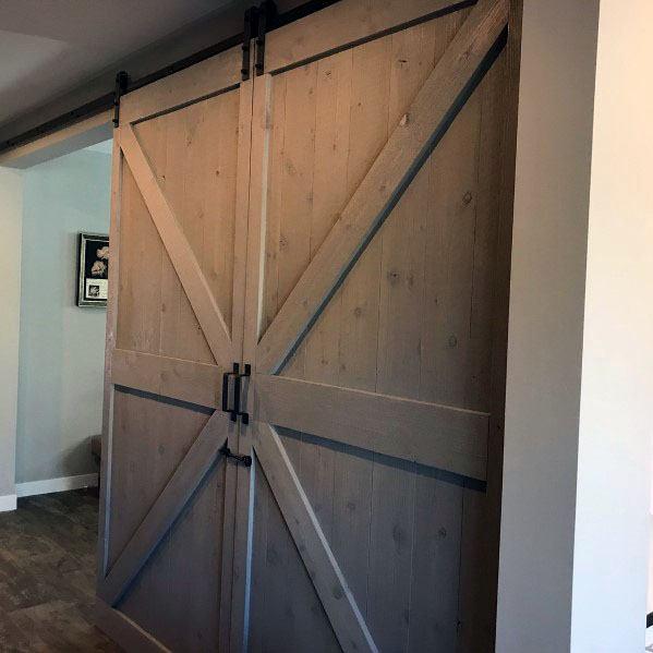 Large Grey Wood Awesome Barn Door Ideas