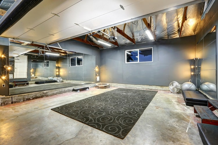 Large Gym Unfinished Basement Ideas