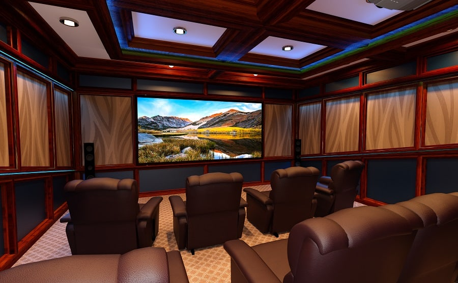 Unique Purple Themed Home Theater Seating Home Ideas