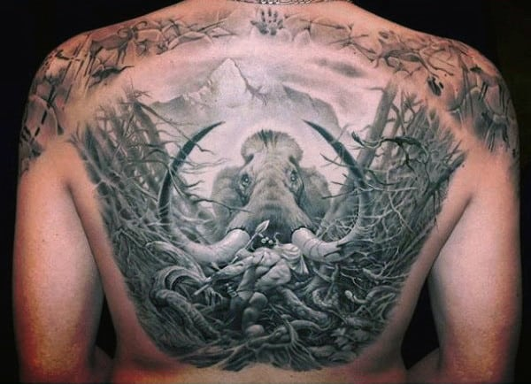 Large Horned Elephant With Dried Twigs Tattoo Guys Back