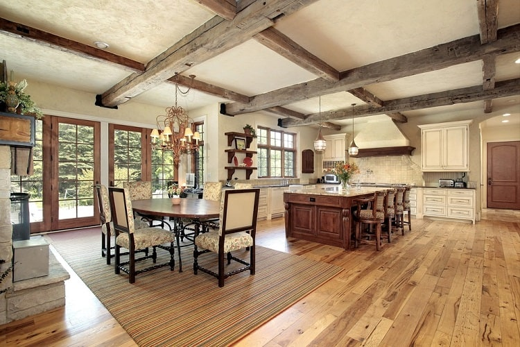 Large Luxury Rustic Kitchen Coffered Ceiling