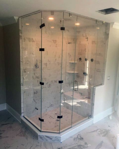 Large Marble Tiles Corner Shower Ideas Inspiration