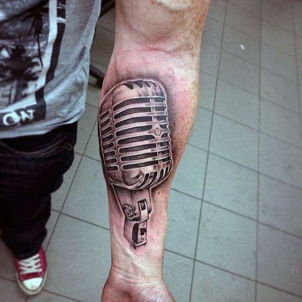 Large Metallic Microphone Tattoo Guys Forearms