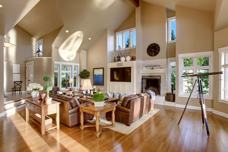 Large Modern Living Room Vaulted Ceiling
