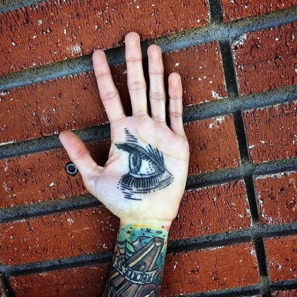 Large Opened Eye Tattoo Guys Palm