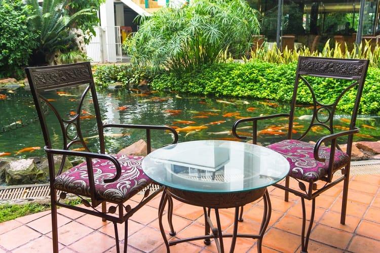 Large Pation Backyard Pond Sitting Area
