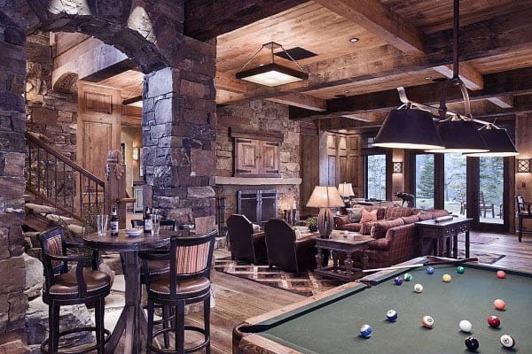 Large Rustic Basement Ideas