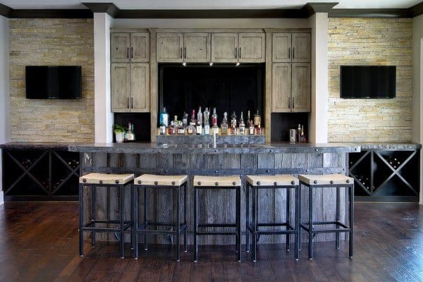 Large Rustic Home Basement Bar Ideas
