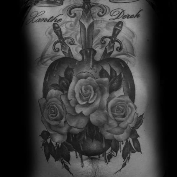 Large Sacred Heart With Rose Flowers Guys Full Chest And Stomach Tattoo