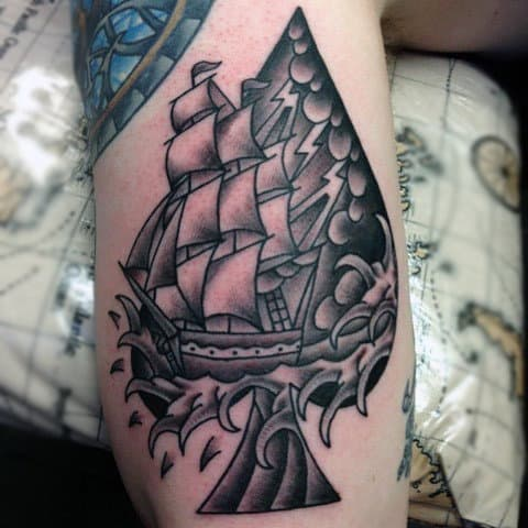 Large Sailed Ship With Spilling Sea Water And On Ace Tattooo Guys Arms