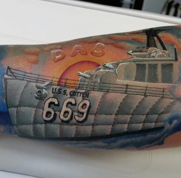 Large Ship And Dad Tattoo Male Forearm