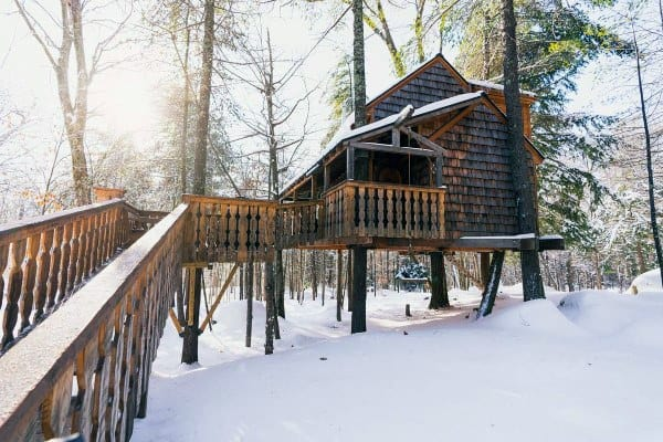 Large Treehouse Ideas With Bridge