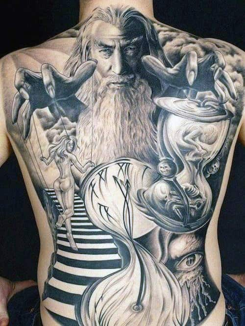 Large White Bearded Sorcerer Tattoo With Naked Lady And Hourglass Tattoo Mens Full Back