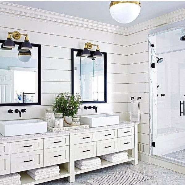 Large White Rustic Look Bathroom Vanity Interior Design