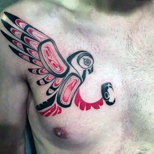 Large Winged Bird Haida Tattoo Male Chest