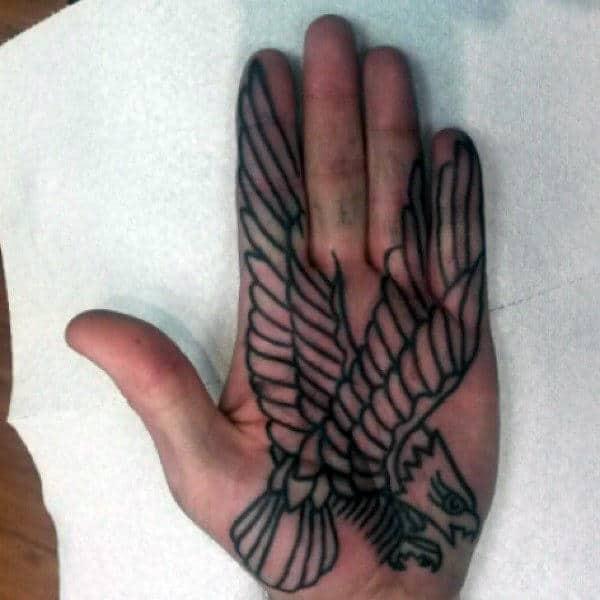 Large Winged Raven Tattoo Male Palm