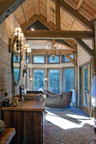 Large Wood Ceiling Rustic Bathroom Ideas