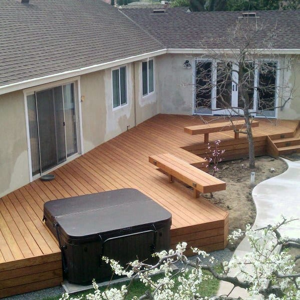 Large Wood Deck Hot Tub Ideas