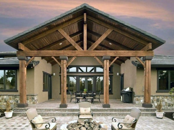 Large Wood Impressive Patio Roof Ideas