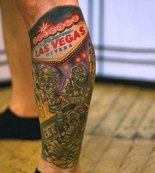 Las Vegas Overrun By Zombies Mens Lower Leg Calf Sleeve Tattoo