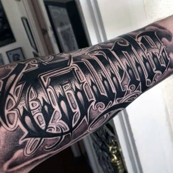 Last Name Guys Script Different Forearm Sleve Tattoo