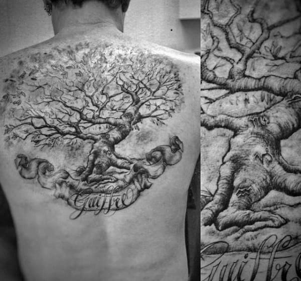 Last Name Male Family Tree Back Tattoo