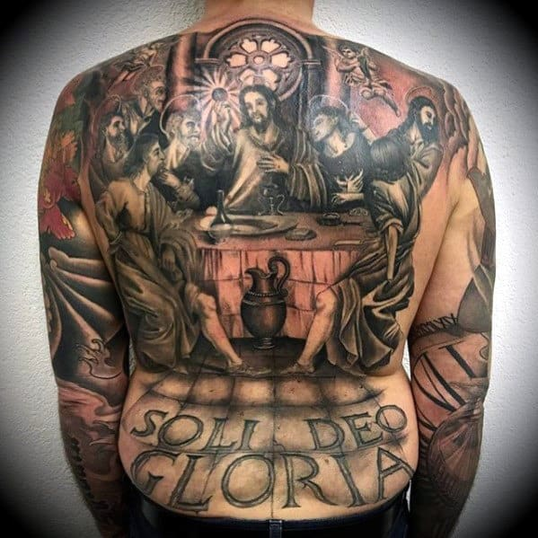 Last Supper 3d Mens Jesus Back Tattoo Ideas