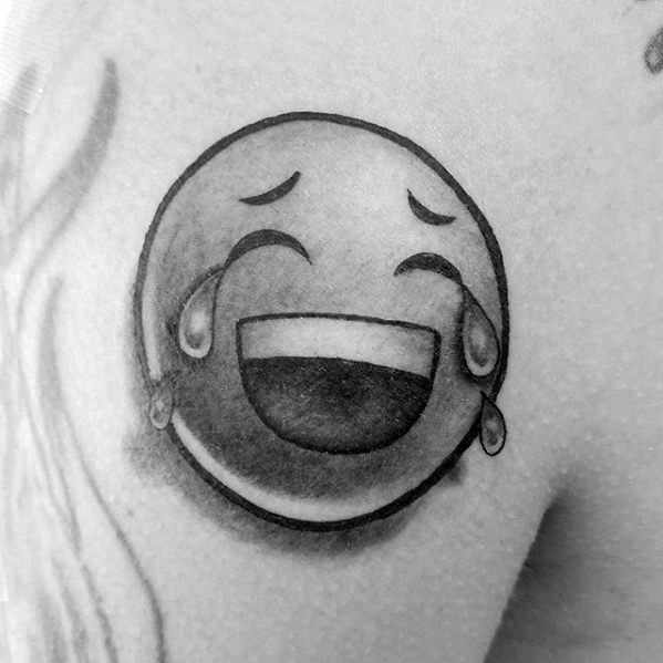 Laughing And Crying Chest Emoji Tattoo Designs For Guys