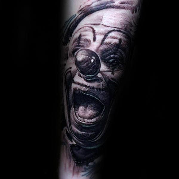 Laughing Clown Mens Forearm Sleeve Tattoos