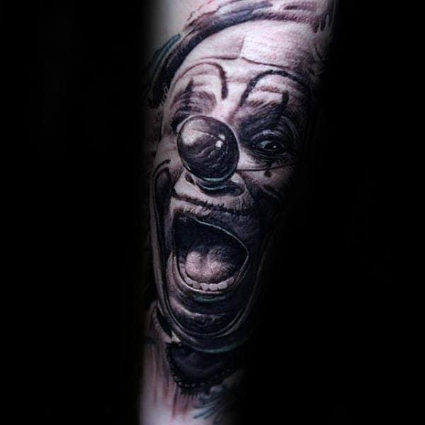 Laughing Clown Mens Forearm Sleeve Tattoos