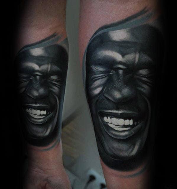 Laughing Michael Jordan Guys Inner Forearm Tattoo