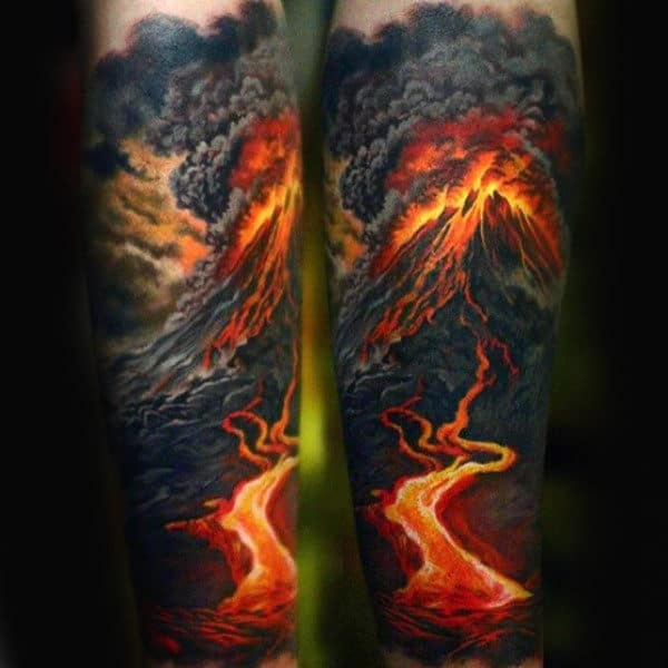 Lava Fire Volcano Mens Sleeve Tattoo With Realistic Design