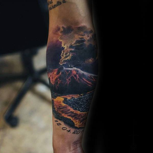 Lava Volcano Tattoos Men On Forearms