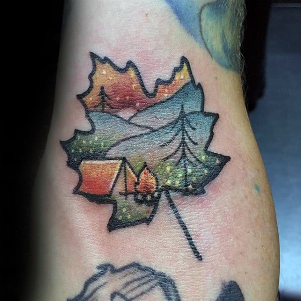 Leaf With Camping Scene Guys Small Nature Tattoo On Arms
