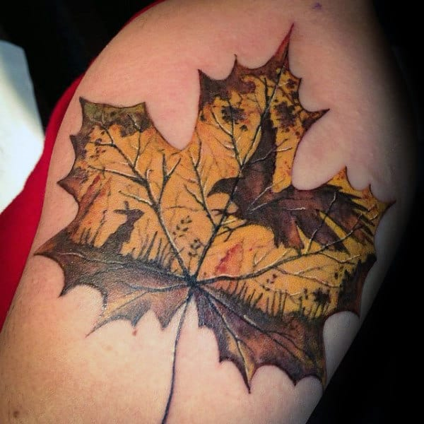 Leaf With Hawk And Bunny Mens Fall Arm Tattoos