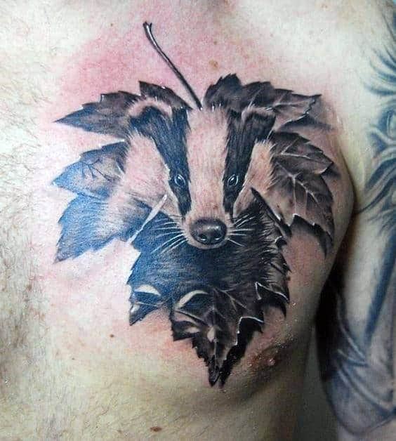 Leaf With Honey Badger Mens 3d Chest Tattoos