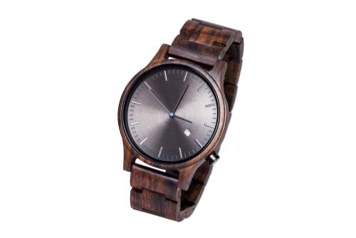 Leafwood The Juglan Nut Gold Natural Dark Brown Sandal Wood Watches For Men