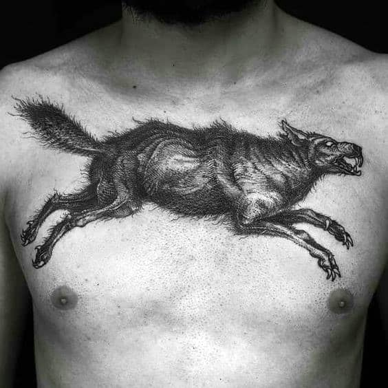 Leaping Wolf Guys Detailed Sketched Chest Tattoos