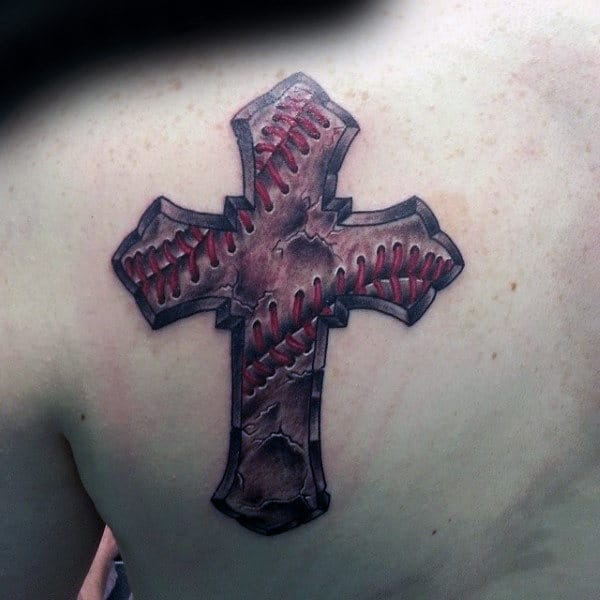 Leather Baseball Cross Mens Upper Back Tattoos