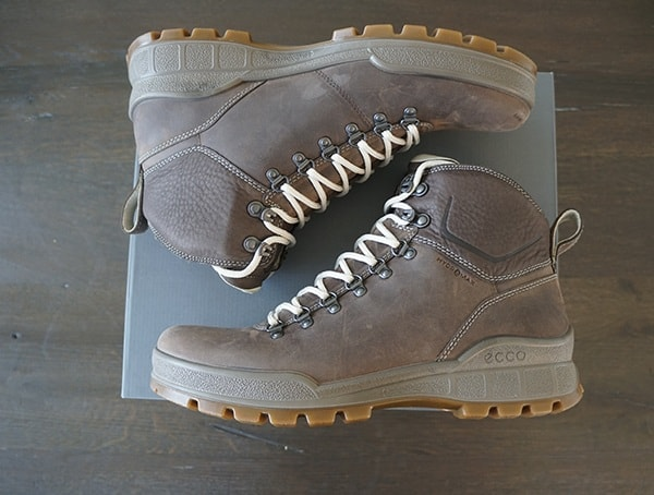 Leather Coffee Ecco Track 25 Hydromax Boots For Men