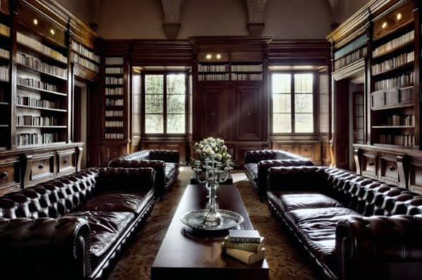 Leather Couches In Traditional Wood Home Library