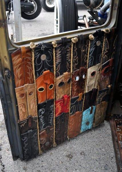 Leather Cowboy Boot Door Rat Rod Interiors