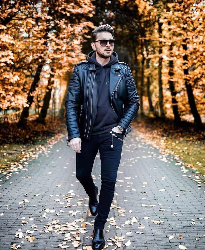 Leather Jacket Skinny Jeans Mens Wear