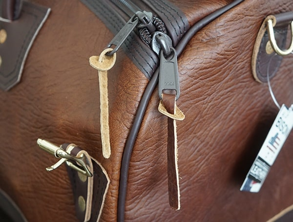 Leather Pull Tabs Duluth Pack Bison Leather Sportsman Duffel