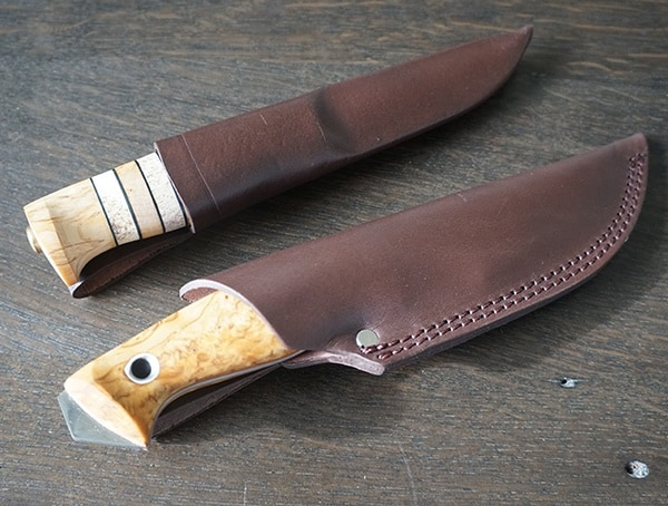 Leather Sheathed Helle Arv And Utvaer Knives