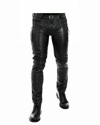 Tight-fitting black leather pants