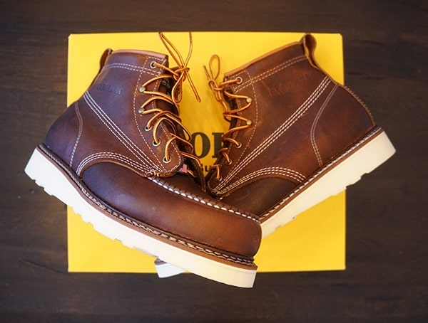 Leather Us Made Carolina 6 Inch Wedge Sole Work Boots For Men