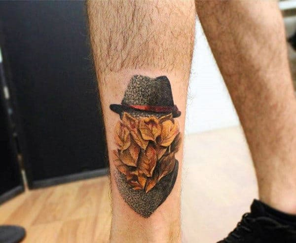 Leaves Portrait Guys Abstract Lower Leg Fall Tattoos